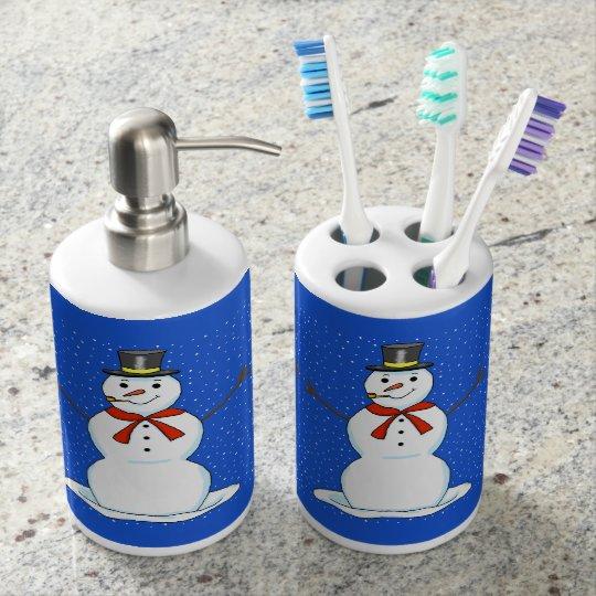 Snowman Toothbrush Holder and Soap Dispenser
