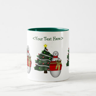 Snowman Tree Personalized Christmas Holiday Mug