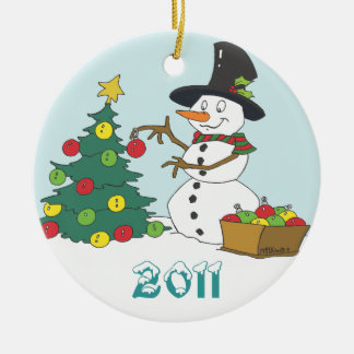 Snowman Trimming Tree Ceramic Ornament