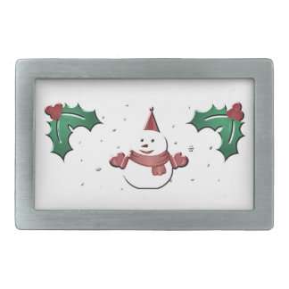 snowman under the mistletoe rectangular belt buckles