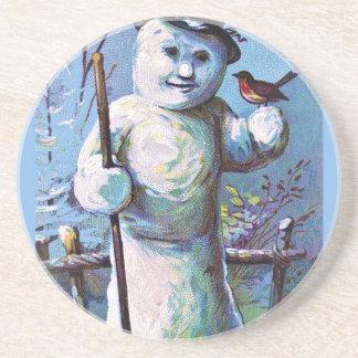 Snowman - vintage-santa-christmas-post-cards-0063 beverage coasters