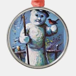 Snowman - vintage-santa-christmas-post-cards-0063 metal ornament