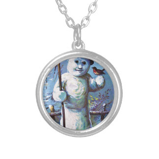 Snowman - vintage-santa-christmas-post-cards-0063 silver plated necklace