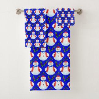 Snowman w/Blue Background Bath Towel Set