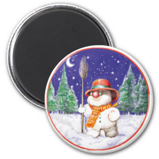 *Snowman walking in the night* 2 Inch Round Magnet