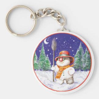 *Snowman walking in the night* Keychain