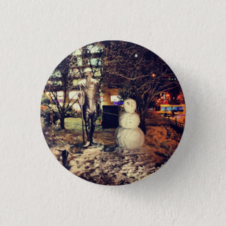 Snowman Walking With Gandhi Button