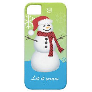 Snowman wearing Santa hat iPhone 5 Cases