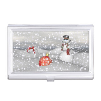 snowman white and gift business card holder