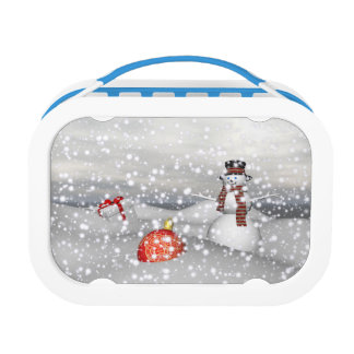 snowman white and gift lunch box