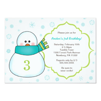 Snowman Winter Birthday Party Invites