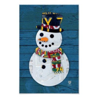 Snowman Winter Fun Vintage License Plate Art Poster