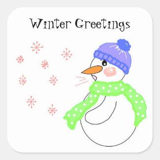 Snowman Winter Greetings Square Sticker