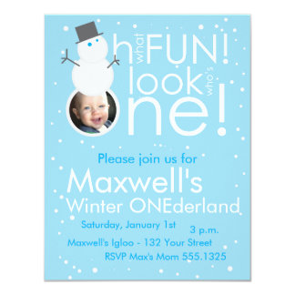 Snowman Winter ONEderland 1st Birthday Invitations
