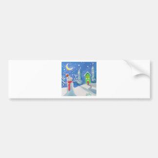 Snowman winter scene folk art painting bumper stickers