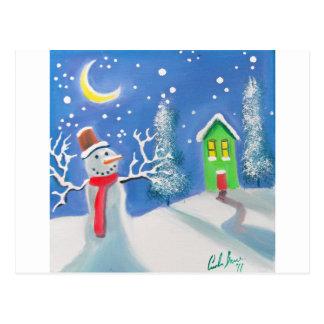 Snowman winter scene folk art painting postcard