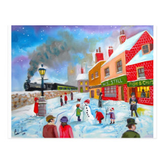 Snowman winter scene folk art painting train postcard
