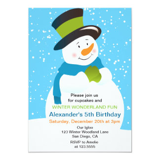 Snowman Winter Wonderland Boy Birthday Invitation