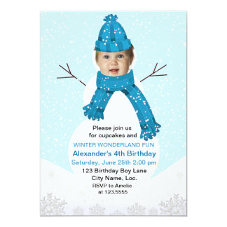 Snowman Winter Wonderland Photo Birthday Custom Card