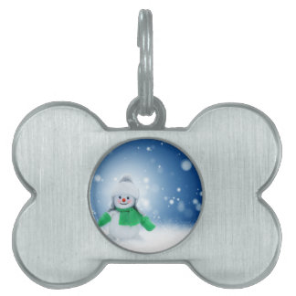 Snowman Wishes Pet Name Tag