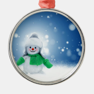 Snowman Wishes Silver-Colored Round Ornament