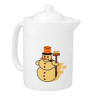 Snowman with a broom cartoon