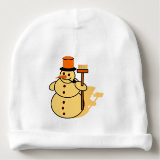 Snowman with a broom cartoon baby beanie