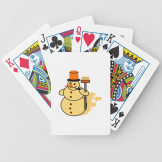Snowman with a broom cartoon bicycle playing cards
