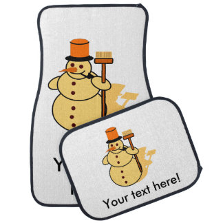 Snowman with a broom cartoon car mat