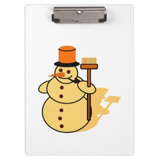 Snowman with a broom cartoon clipboard