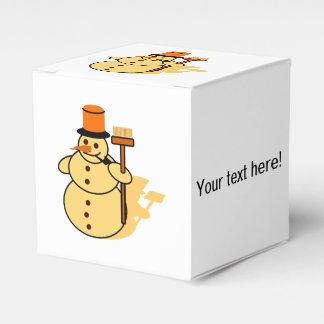 Snowman with a broom cartoon favor box