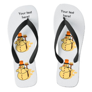 Snowman with a broom cartoon flip flops