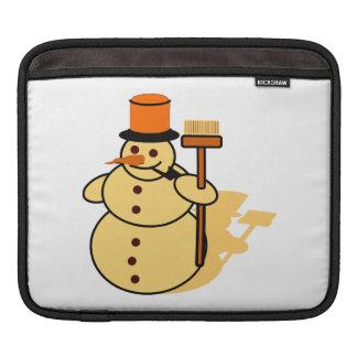 Snowman with a broom cartoon iPad sleeves