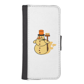 Snowman with a broom cartoon iPhone SE/5/5s wallet case
