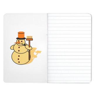 Snowman with a broom cartoon journal