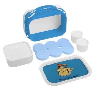 Snowman with a broom cartoon lunch box