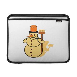 Snowman with a broom cartoon MacBook sleeve