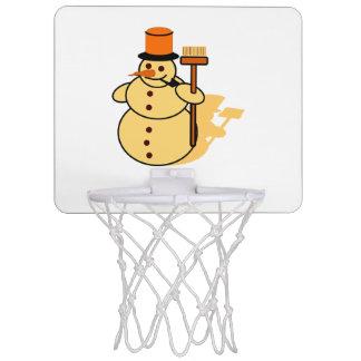 Snowman with a broom cartoon mini basketball hoop