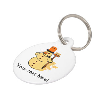 Snowman with a broom cartoon pet ID tag