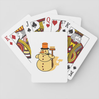 Snowman with a broom cartoon playing cards