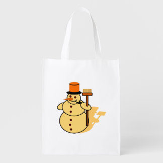 Snowman with a broom cartoon reusable grocery bag