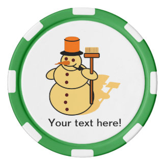 Snowman with a broom cartoon set of poker chips