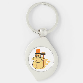 Snowman with a broom cartoon Silver-Colored swirl keychain