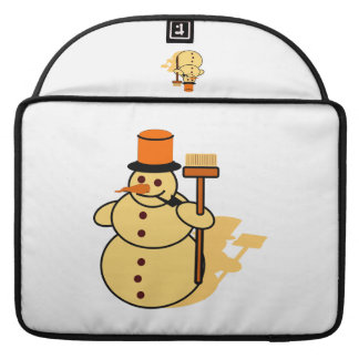 Snowman with a broom cartoon sleeve for MacBook pro