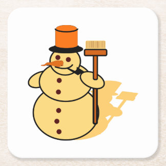 Snowman with a broom cartoon square paper coaster