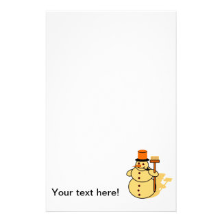 Snowman with a broom cartoon stationery