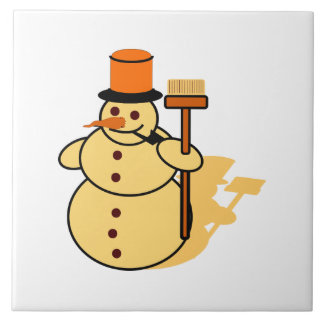 Snowman with a broom cartoon tile