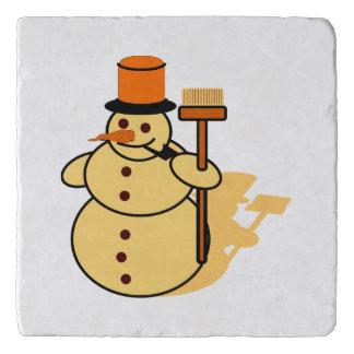 Snowman with a broom cartoon trivet