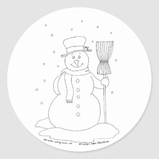 Snowman With a Broom Round Sticker