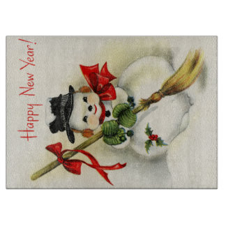 Snowman with a broom wishing Happy New Year Cutting Board